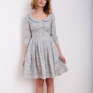 Blue Linen Open Back Dress